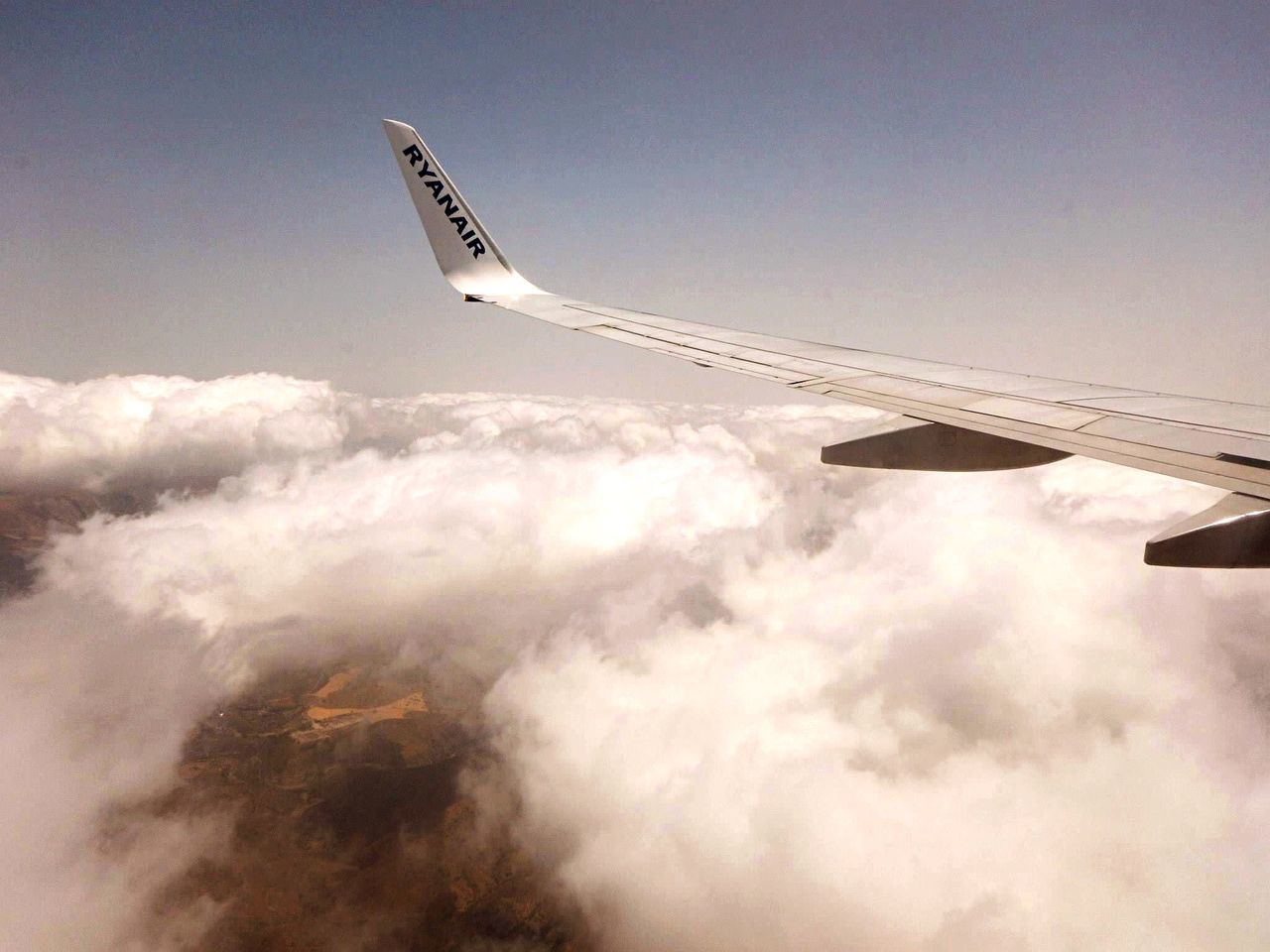 airplane, transportation, journey, sky, flying, air vehicle, no people, airplane wing, day, nature, outdoors