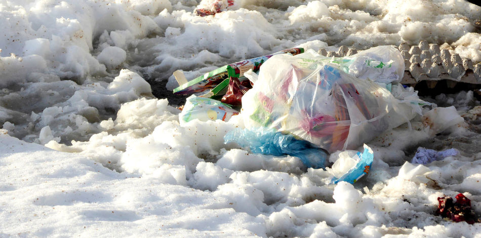 pollution Bag Cold Temperature Day Ecology Garbage Nature No People Nylon Outdoors Plastic Pollution Pollution In My World Snow