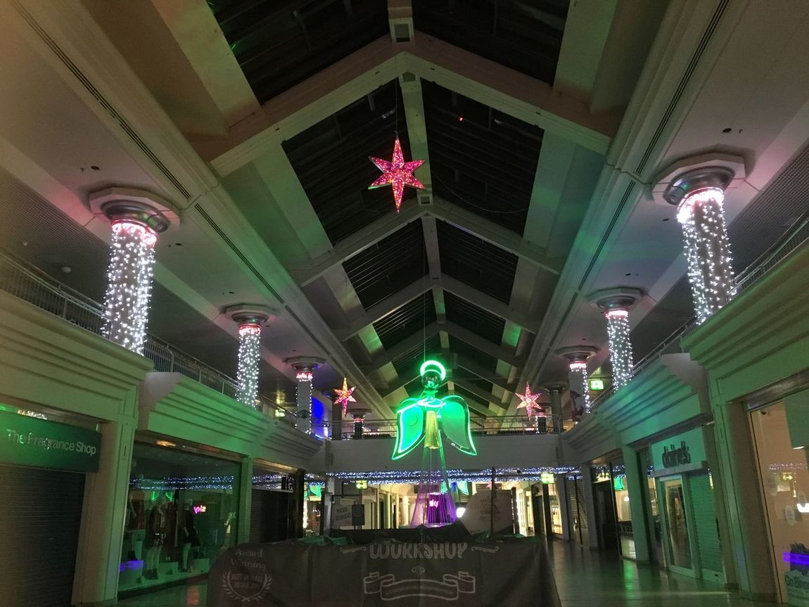 Lets get this Christmas on the go! Took this last week whilst installing decs ready for the Big Bloke in the Red Suit 🎅🏽 Celebration At Work Architecture Low Angle View Illuminated Ceiling Night Indoors  Built Structure Hard Night Metro Centre MK Illuminations