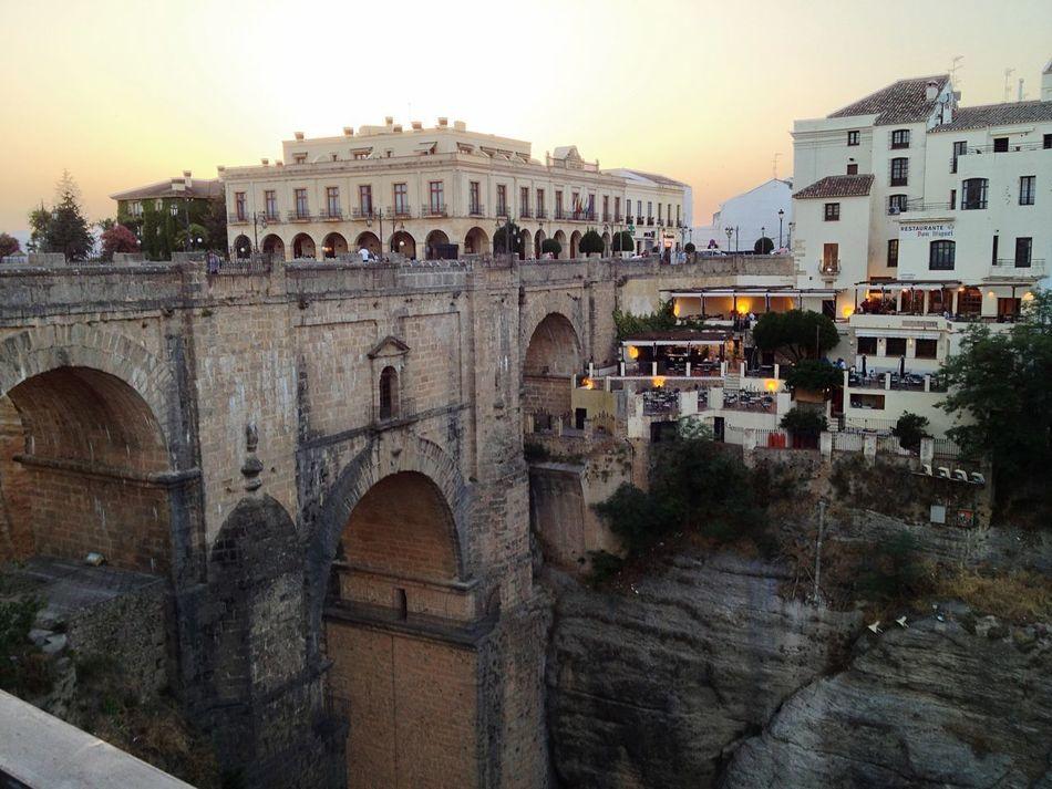 Architecture Arch Built Structure History Travel Destinations Tourism Outdoors Sunset Sky Scenics Ronda Spain Bridge