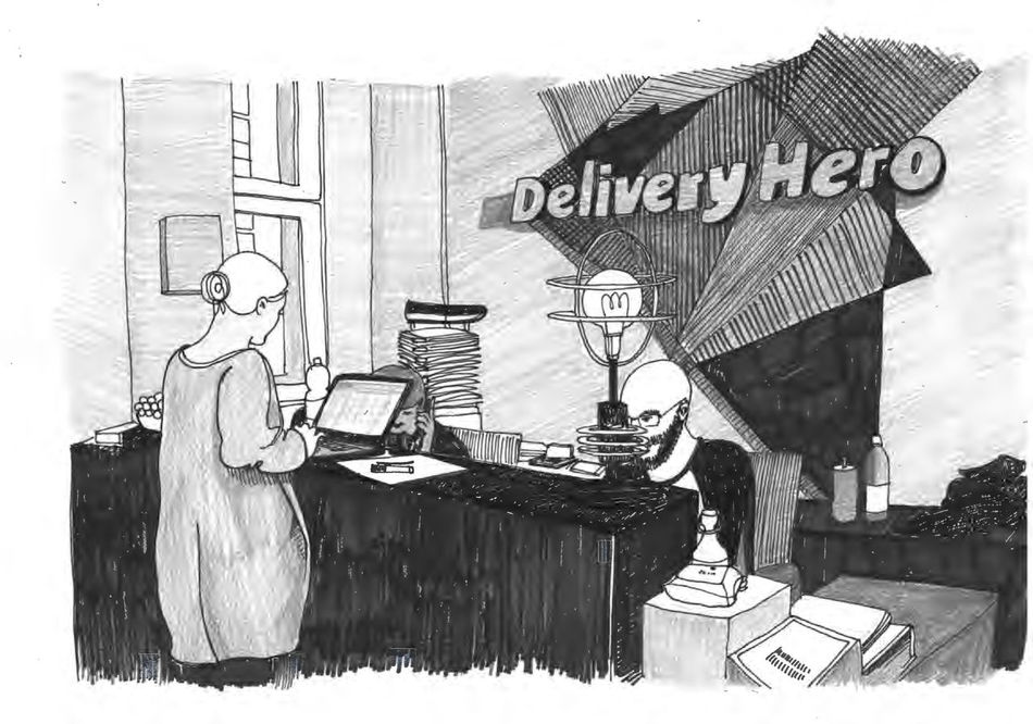Drawing Illustration Lieferdienst Lieferheld Office Startup