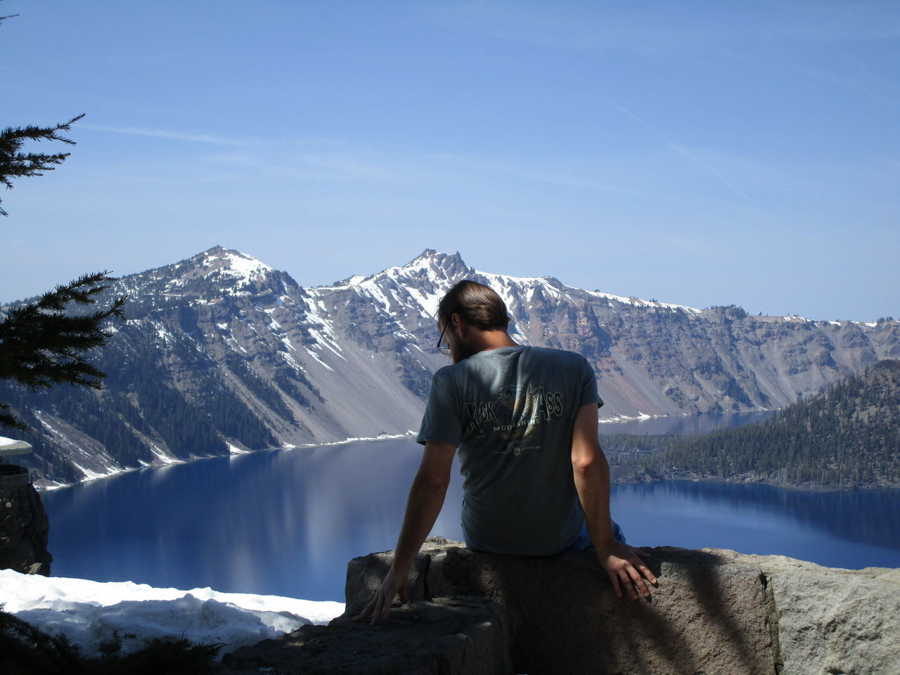 Beauty In Nature Casual Clothing Crater Lake National Park Day Mountain Mountain Range Nature Outdoors Sky Sunny Tranquility
