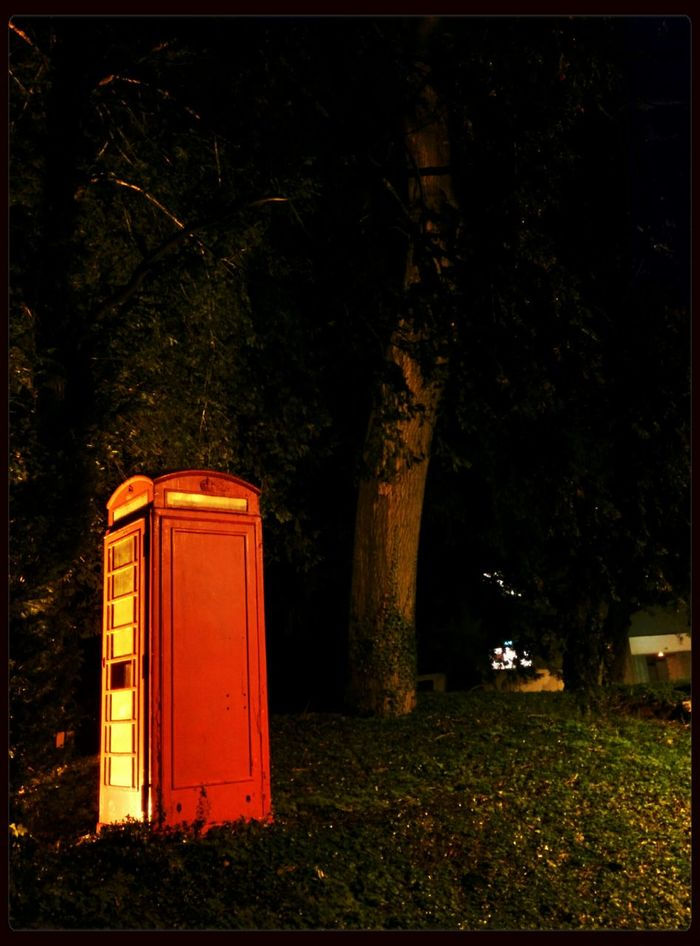 Telephone Box Night Photography Trees Collection Light And Shadow