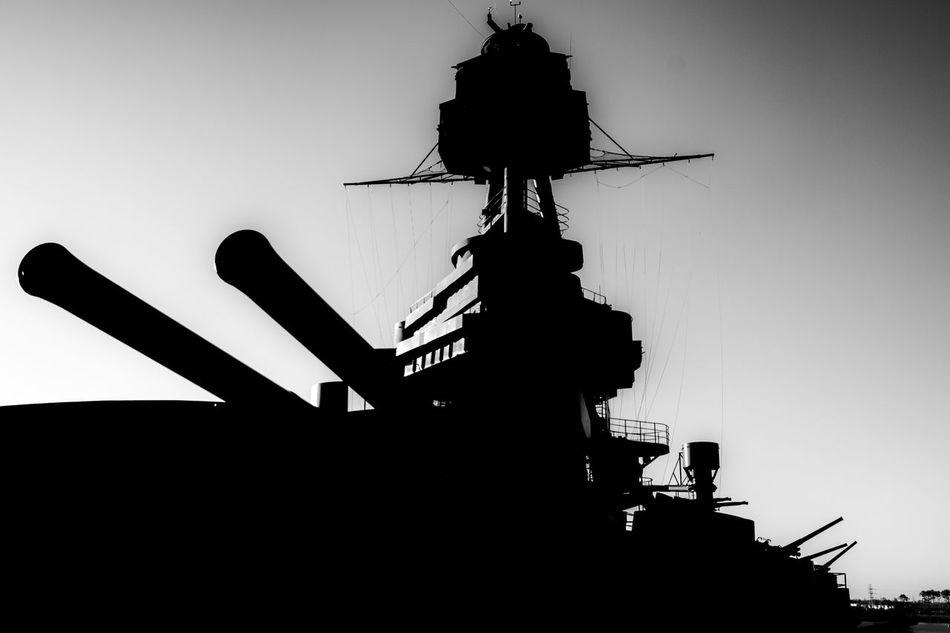 """A mighty force"" Battleship Battleship Texas Canon Guitar Gun Mast No People Outdoors Ship Silhouette Sunset Texas State Parks"