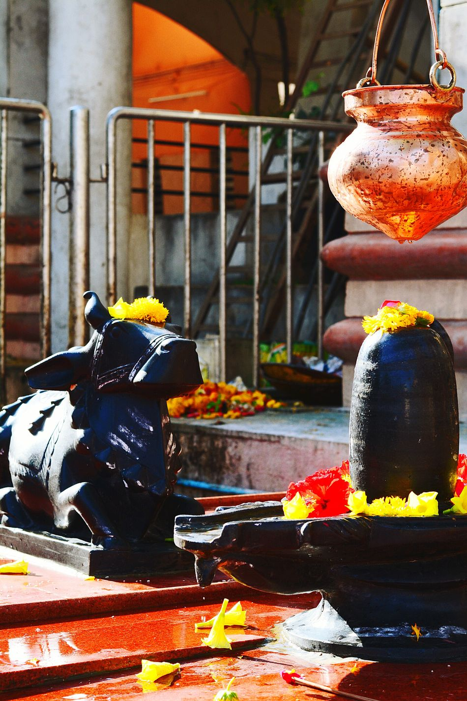 Nandi Idol God Shivling Copper  Outdoors Freshness