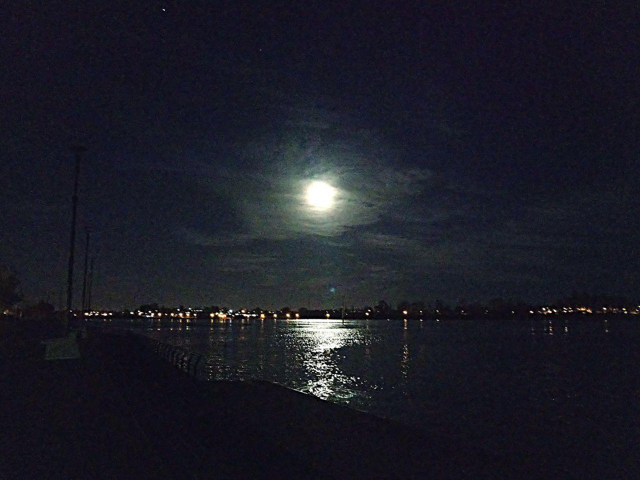 Night River Rio Costa Noche Moon Sky Moonlight Stars City