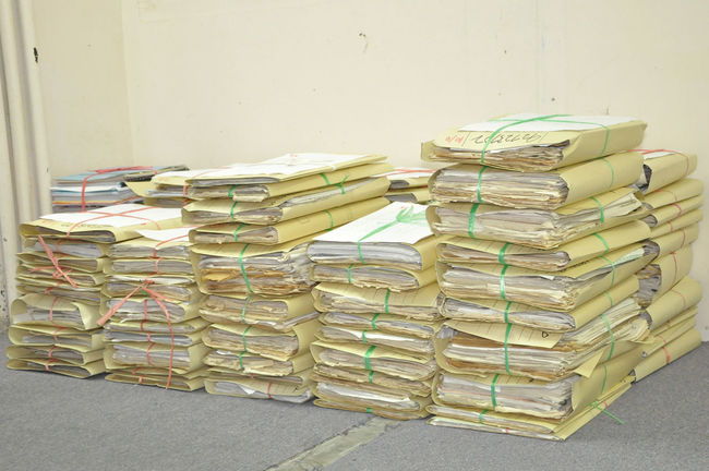 Stack Of Tied Old Files And Documents Yellowing On Office Floor Bind Bureaucracy File Folder Form Messy Old Paper Paperwork Pile Proposition Report Stack Yellow