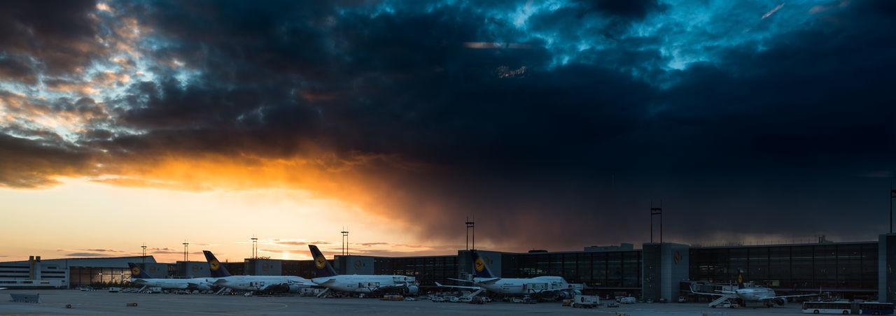 Airbus A380 Airplanes Airport Boeing 747 Cloud - Sky Cloudy Frankfurt Airport Fraport Lufthansa No People Rain Sky Storm Storm Cloud Sunlight Sunset Transportation Weather
