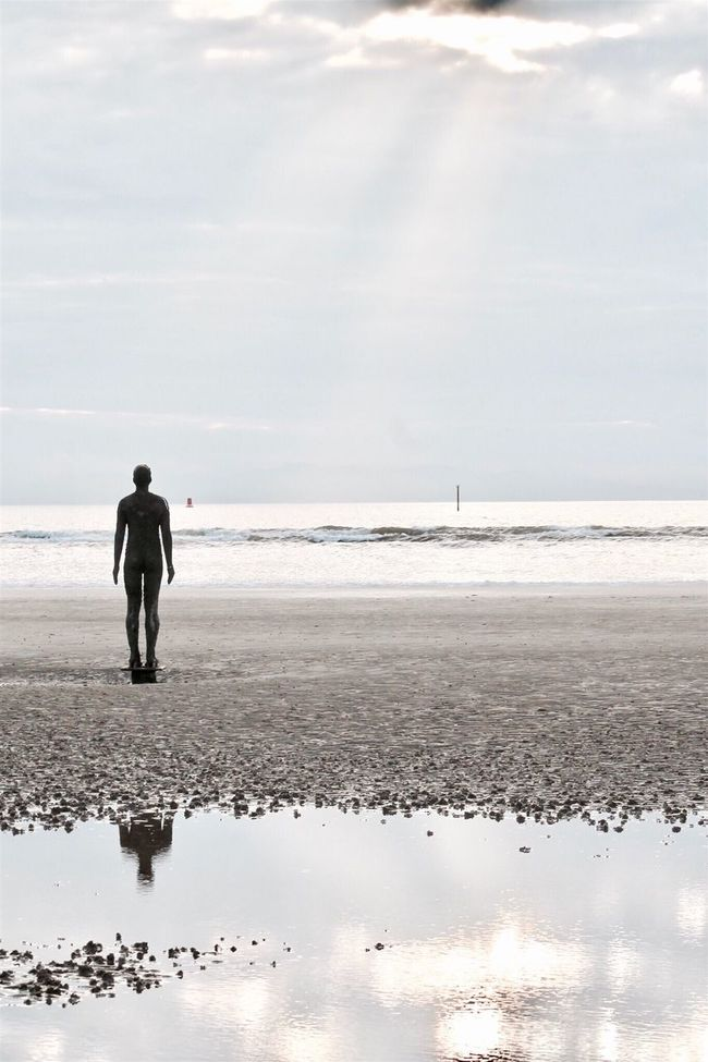 Beach Water Sea Horizon Over Water Rear View Sand Tranquil Scene Reflection Getting Away From It All Solitude Eye4photography  Outdoors EyeEm Nature Lover Taking Photos Liverpool Anotherplace Photography Cloud - Sky Beauty In Nature Nature Eyeemphotography Crosby Beach