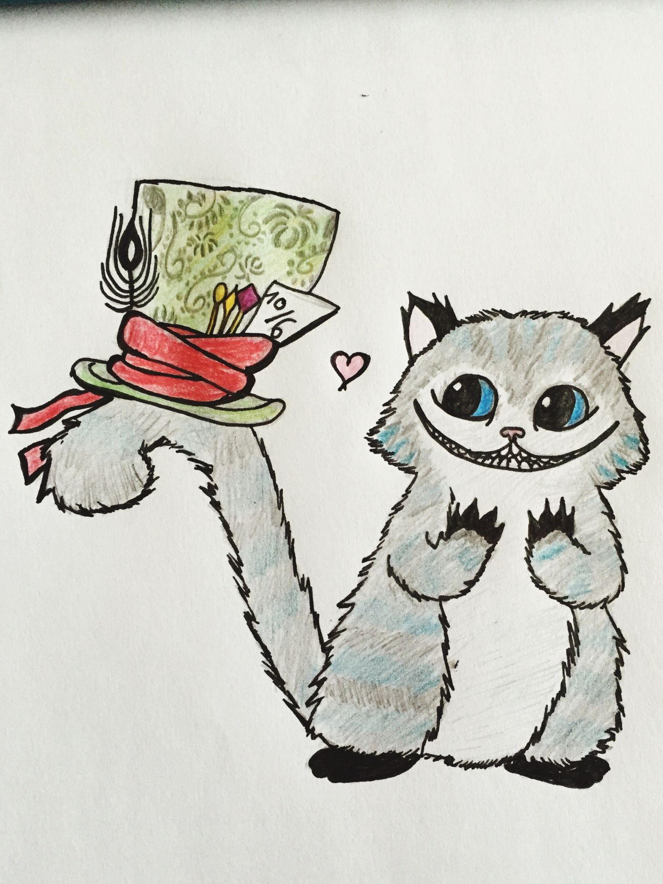 Alice in Wunderland/ self made Madhatter Aliceinwonderland Grinsekatze Drawing Selfmade Artwork Gift To My Heart