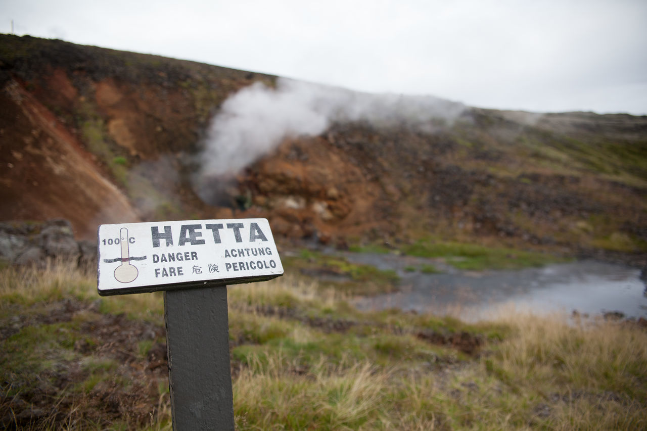 Warning Sign And Hot Springs