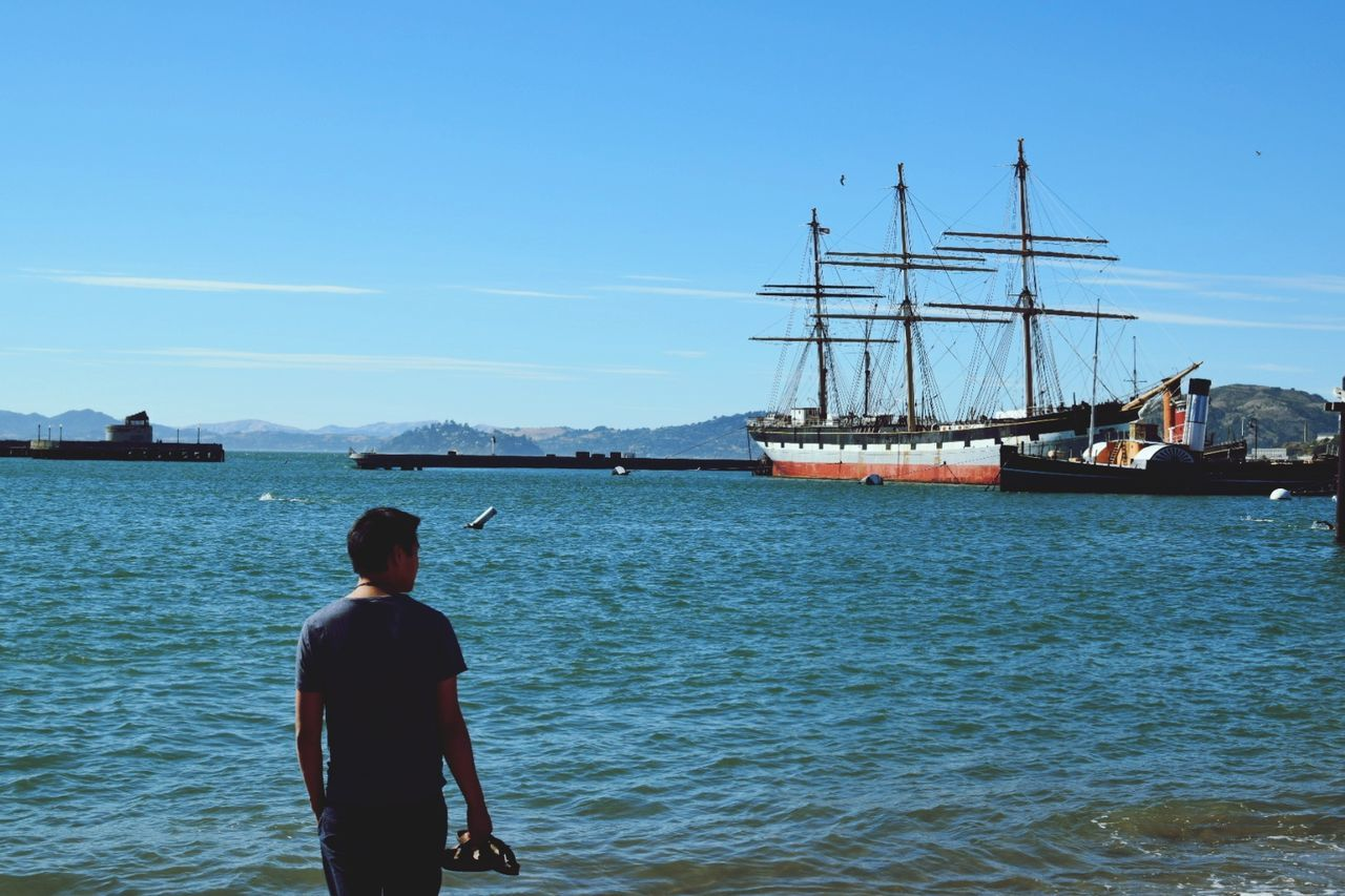 Sea Nautical Vessel Standing Harbor One Person Water Sky One Man Only Ship Only Men Day People Outdoors Beach Clear Sky Mast Sunlight Travel Destinations San Francisco, California San Francisco NIKON D5300 Tourism Vacations Clear Sky