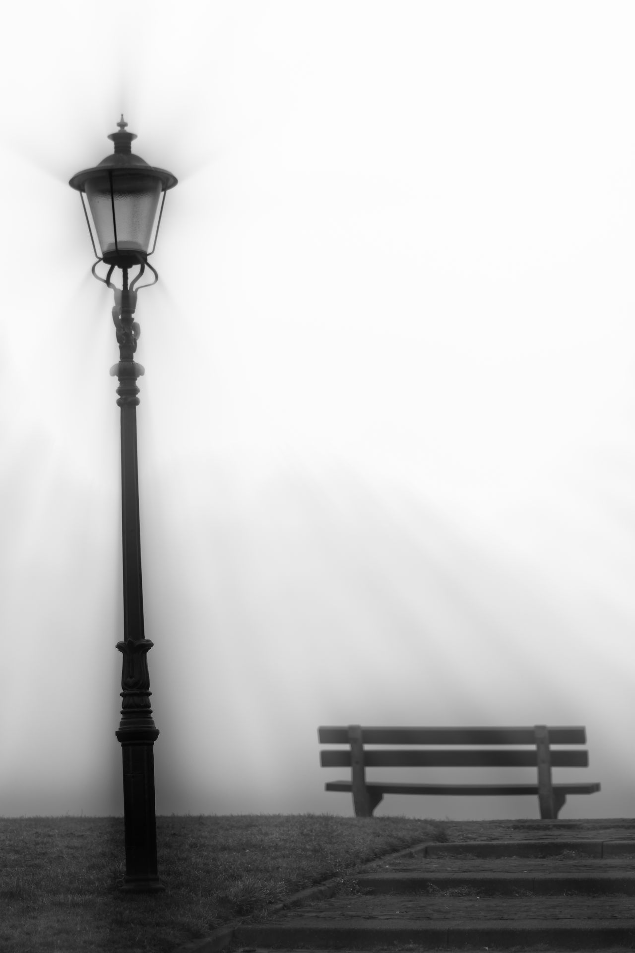 The Mistymalistic World Bench Light Light And Shadow Minimalism Mist No People Outdoors Street Light
