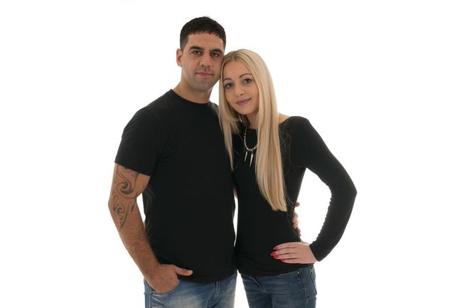 Black Blonde Couple Cuddle Girl And Boy In Love Lifestyles Long Hair Looking At Camera Love Person Pose Romance Studio Shot Together White Background Young Adult