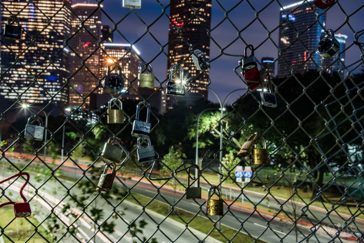 Houston Houston Texas Downtownhouston Long Exposure Photography Photooftheday Chainlink Fence Safety Fence Protection Sky No People Night Tree Outdoors City Illuminated Nature Architecture Close-up First Eyeem Photo Finding New Frontiers
