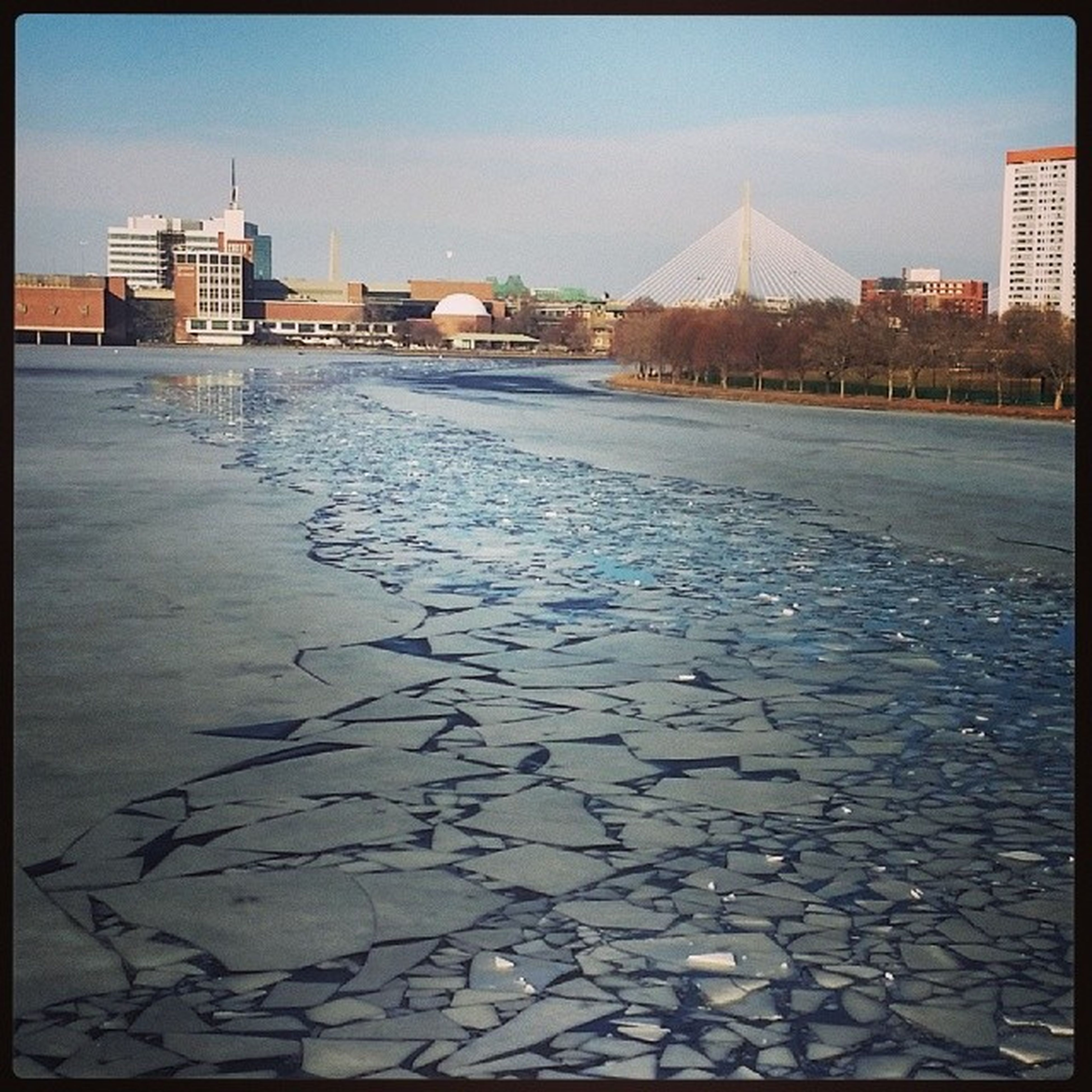 The icebreaker made its way down the Charles River today. Letmothernaturedoit Norush