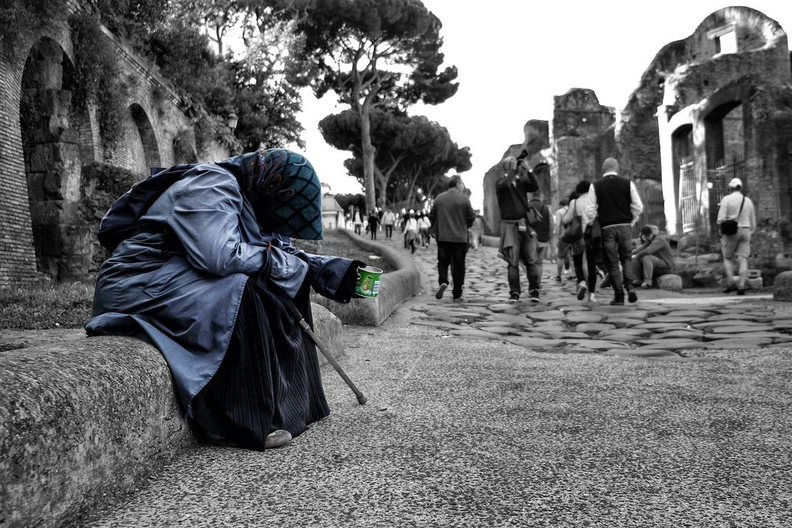 The Places I've Been Today Homeless in Rome Italy Selective Color Pringles Streetphotography Europe Candid One Shot