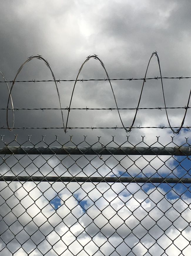 Razor Wire Fence Sky SeattleGamble Diversion Clouds And Sky Fencing Cloudscape Clouds Cloudporn Fluffy Clouds White Color
