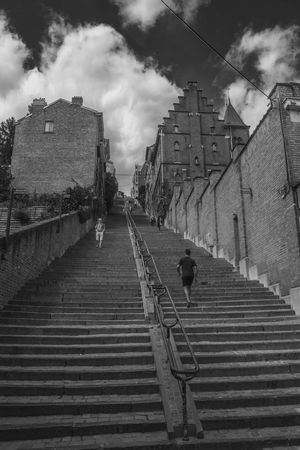 Architecture Blackandwhite Building Built Structure City Day Outdoors People Staircase Steps Steps And Staircases Walking