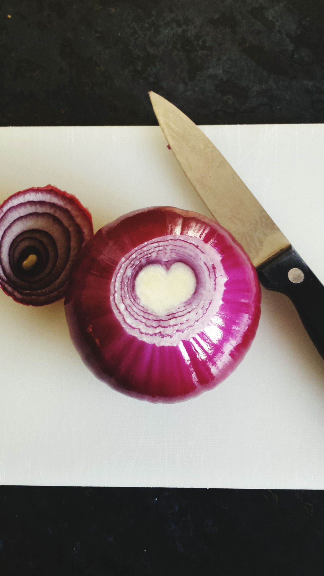 Heart image inside pink onion Pink Color Food Heart Shape Heart Food And Drink Onion Red Onion Foodie Heart Shapes In Nature Heart Shaped Food