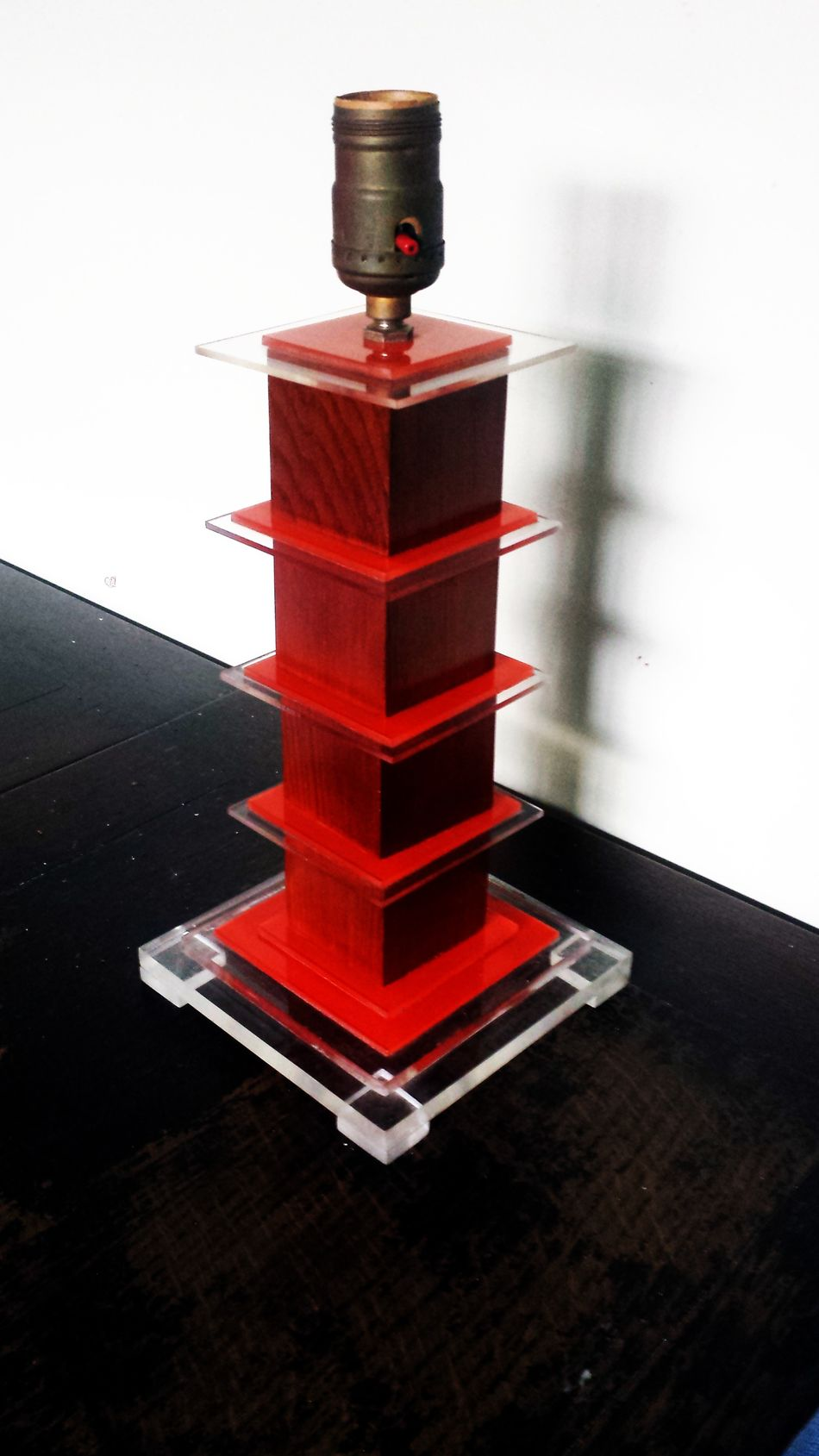 Acrylic Antique Art Deco Close-up Lamp Lucite Modernist No People Red Table Lamp Wood
