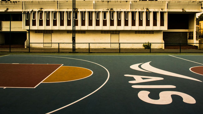 Basketball court Architecture Background Basket Basketball Court Building Built Structure Chonburi ,Thailand Floor Game Information Sign Loacation Modern No People Nostalgia Outdoors Place Play Retro S Sport Thailand Yellow