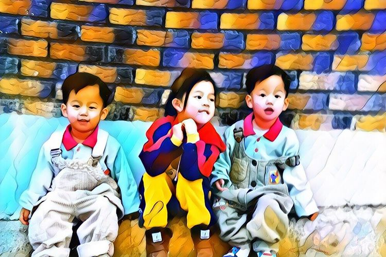 Our childhood. Family Childhood Looking At Camera Front View Elementary Age Child Boys Smiling People Portrait Colors Happy Memory