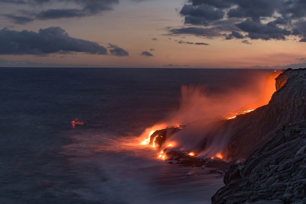 The Big Island is getting bigger. This evening I witnessed the flow of lava entering the Pacific ocean. It's incredible to see fire and sea collide in the creation of the island. Hawaii Big Island Volcano Lava Molten Rock No People News Right Now Heat Earth Nature Pacific Outdoors Coast Kalapana Volcano National Park Colour Of Life A Bird's Eye View The Great Outdoors - 2017 EyeEm Awards
