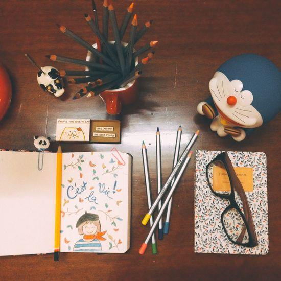 Desks From Above Art, Drawing, Creativity Doraemonfans My Sketch Artjournal Colorpencils Saigonese Saigon, Vietnam My Notebook