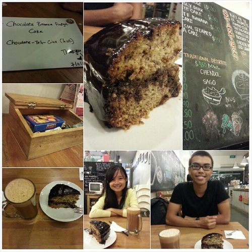 Guilty pleasure - All chocolatey food to finish the day. Chocolate-teh-cino and Chocolate banana cake. A good cafe to chill out Noneedslpalrdy Guiltymax Sweettreats YumYum oldschdelights sofull withbf loves