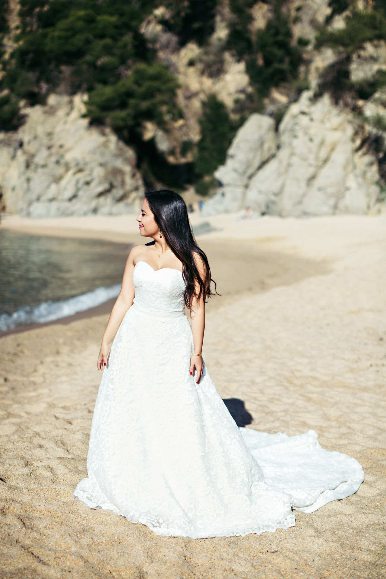 Adult Beach Beautiful Woman Bride Day Full Length Happiness Life Events Lifestyles Nature One Person Outdoors People Real People Sand Standing Wedding Wedding Dress Women Young Adult Young Women