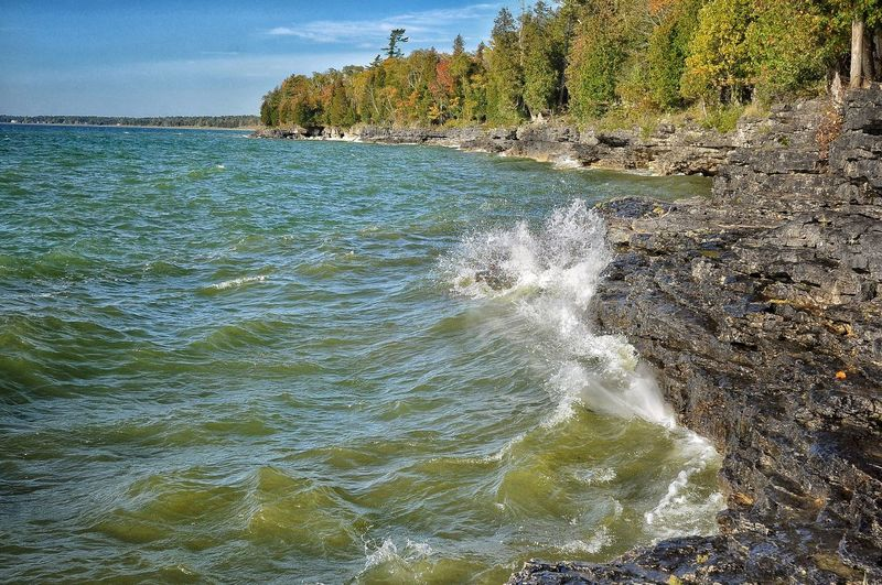 Cave Point Beauty In Nature Waves Outdoors Motion No People Power In Nature Autumn Tree EyeEmBestPics Landscape Tranquil Scene
