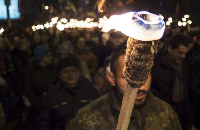 The torchlight procession in honor of the birthday of Stepan Bandera, national hero of Ukraine Bandera Birthday Burning Culture Focus On Foreground HERO Illuminated National Outdoors People And Places Performance Procession Stepan Torchlight Ukrain Ukraine