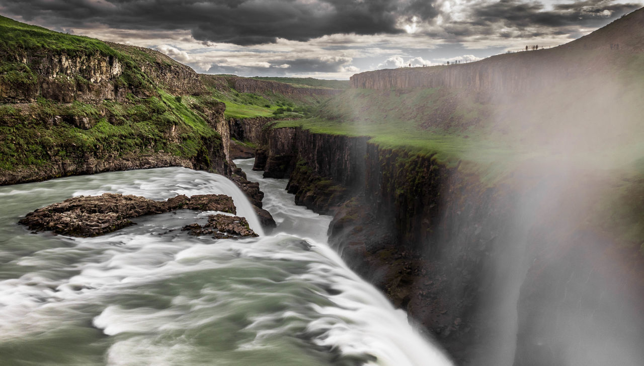 Beauty In Nature Environment Explore Flowing Gullfoss Hydroelectric Power Iceland Islande Landscape Long Exposure Natural Landmark Nature Olympus Outdoors Power In Nature Water Waterfall