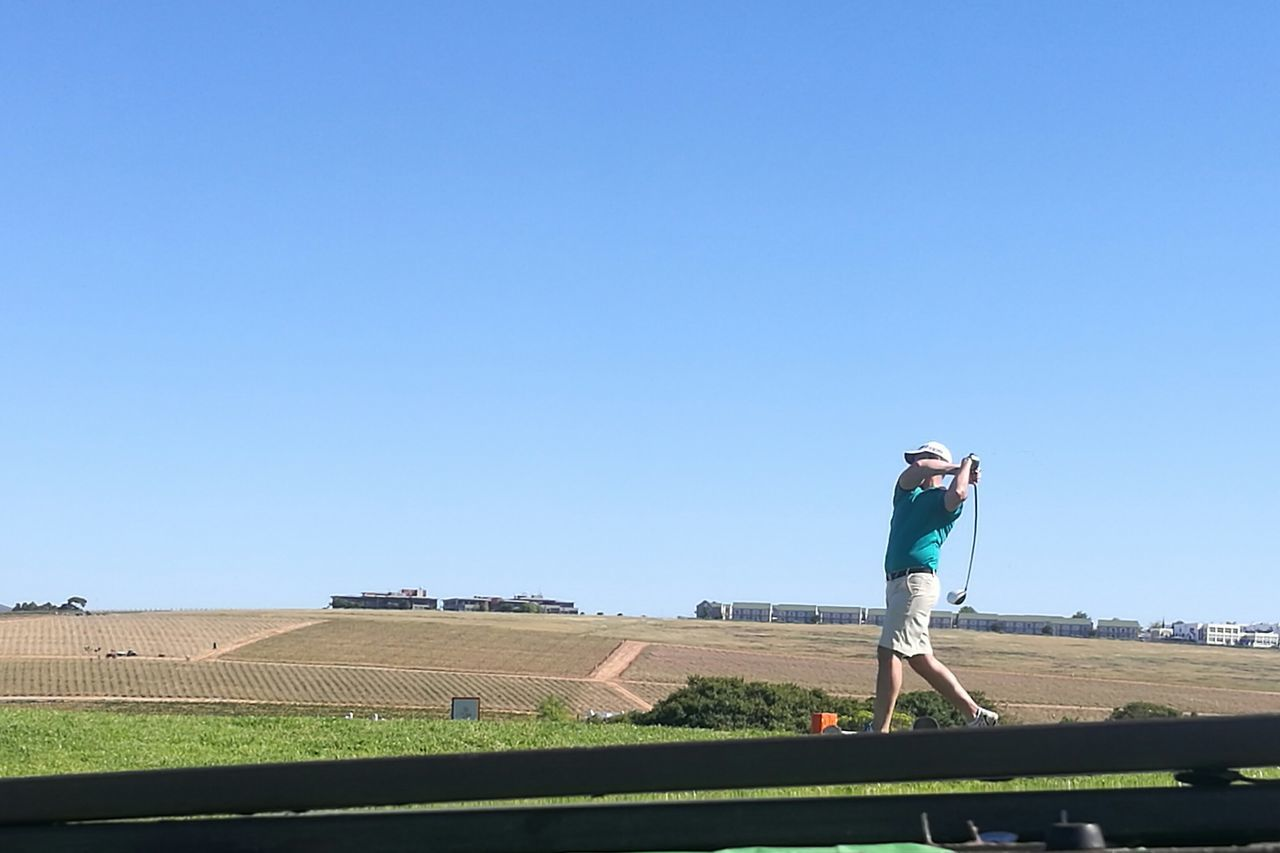 Colors And Patterns Clear Sky Full Length Blue Green Color Day Outdoors Summer Farm Golf ⛳ on a Wine Farm Fun Times With Fun People Dustbin as Base