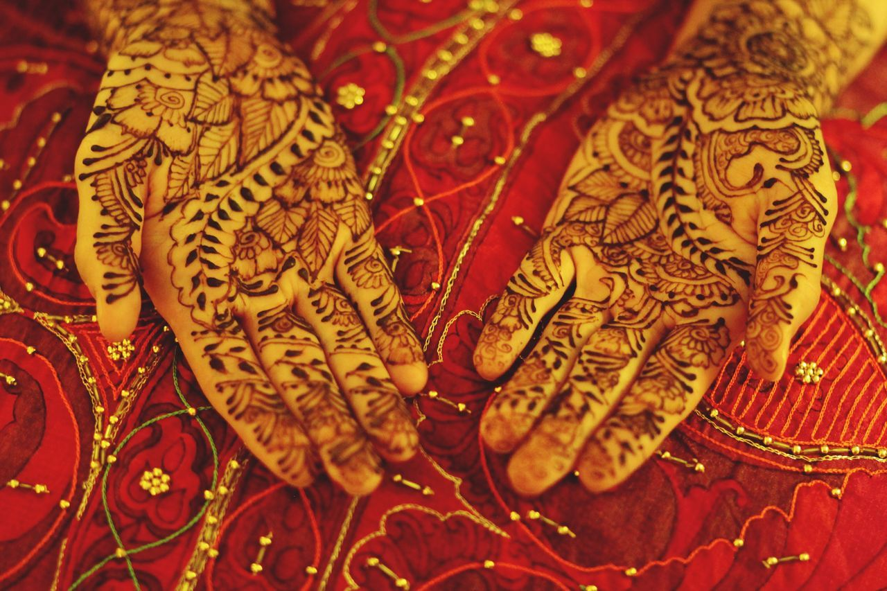 Bridal Henna Henna Art Bridal Henna Henna Henna Hands Mehndi Original Henna hands Design Close-up Celebration Indoors  Pattern High Angle View Full Frame Red Embroidery No People Day