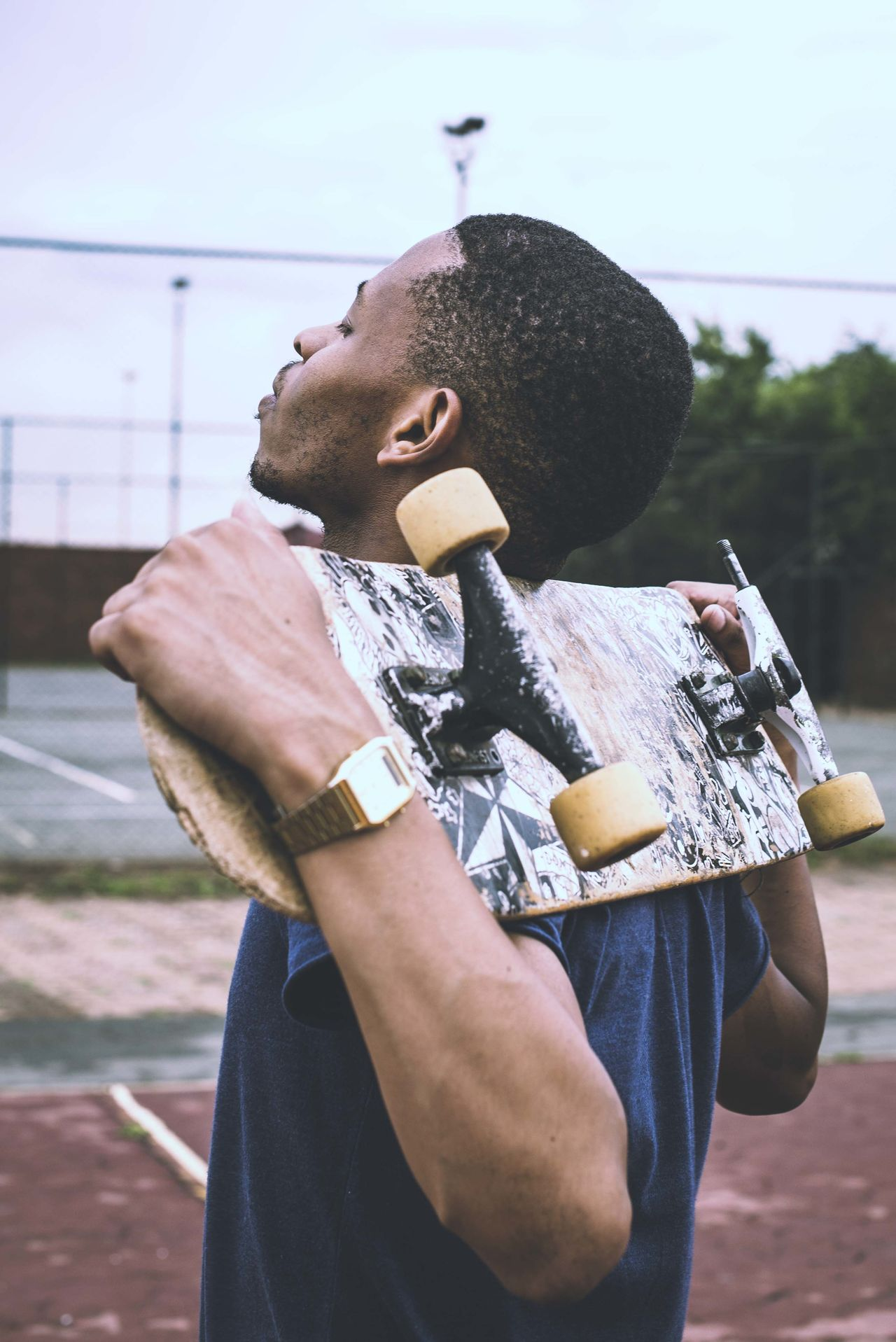 Portrait Black Guy Skateboard Sky Court Photography