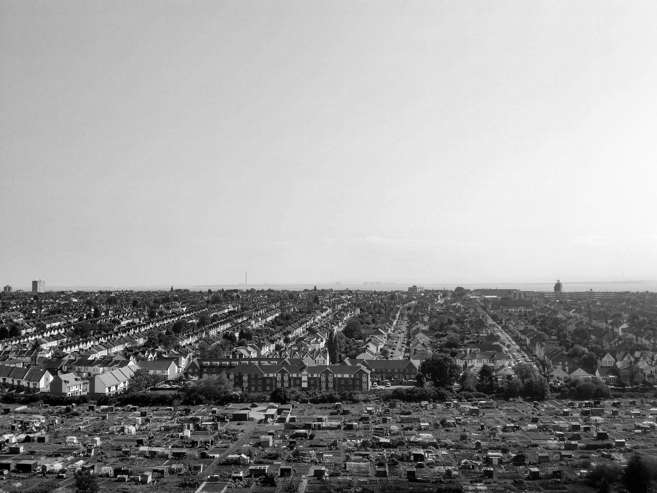 Aerial View Architecture Built Structure City City Life Cityscape Elevated View Horizon Over Land No People Outdoors Residential District Sky Westcliff Southend On Sea Allotments