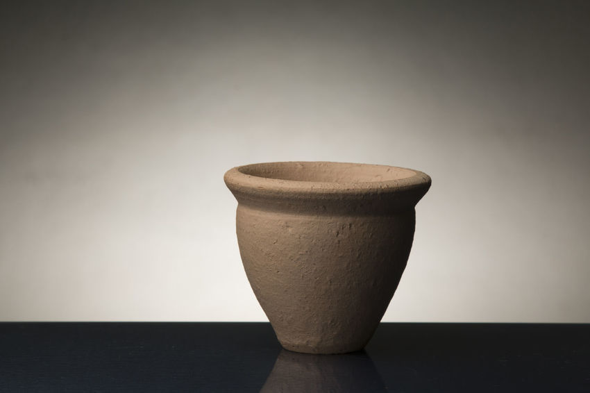 Can of clay photographed in Studio Art And Craft Clay Art Clay Pot No People Pot Of Oil Terracotta Vase Wastepaper Basket