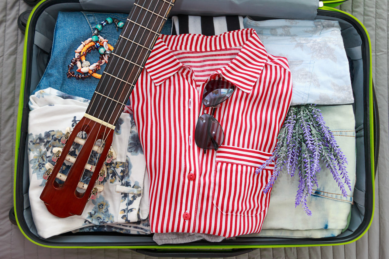 Pack Vacation Rest Summer Time  Hiking Guitar Music Girl Voyage Flowers Sunglasses Trip Bag Packing Tourism Travel Suitcase Flat Lay Overhead Top View