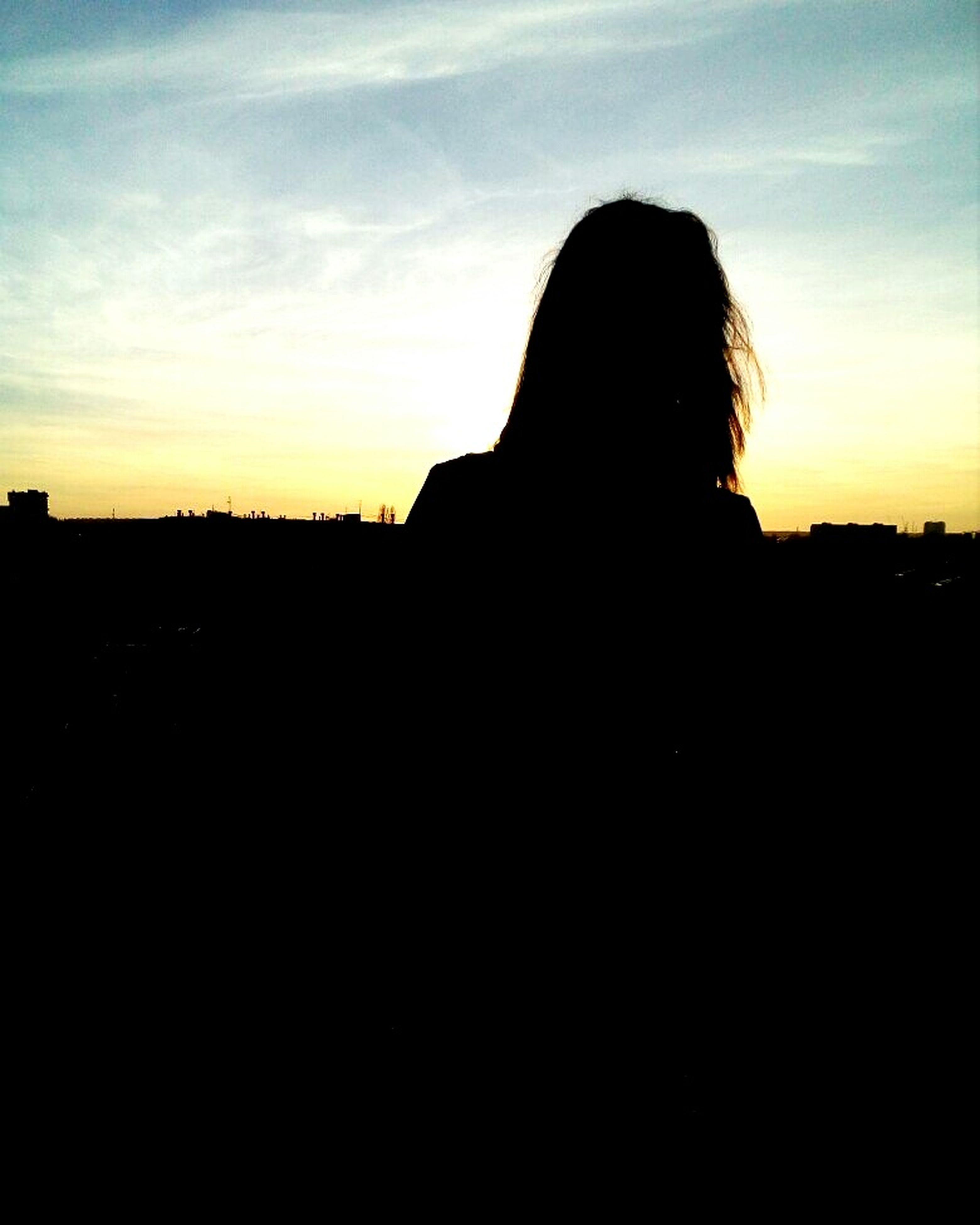 silhouette, real people, one person, sky, waist up, leisure activity, sunset, lifestyles, outdoors, nature, men, cloud - sky, scenics, day, adult, adults only, people