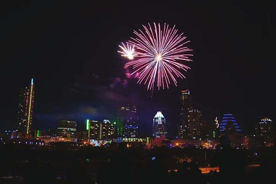 New Year's- Downtown Austin Tx. City Lights City Skyline Cityscapes At Night Fireworks Architecture Night Austin TX No People Night Photography Texas Capitol Illuminated Outdoors Photograpghy  Dark Where The Wild Things Are Downtown Texas Rocks Follow Me Celebration Notes From The Underground Still Smokin Loud Late Night Flights Celebrate The Architect- 2016 Eyeem Awards Cities At Night Texas Skies