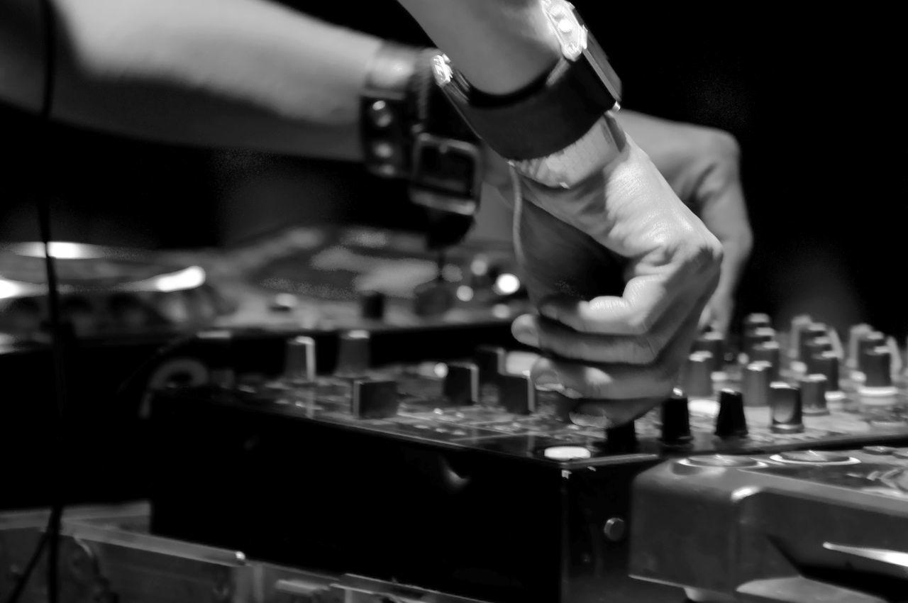 Dj Set Dj Life Dj Mix Song Console Music Concert DJ Life. Dj Booth Buttons Songs Mix Mixer Close Up Technology