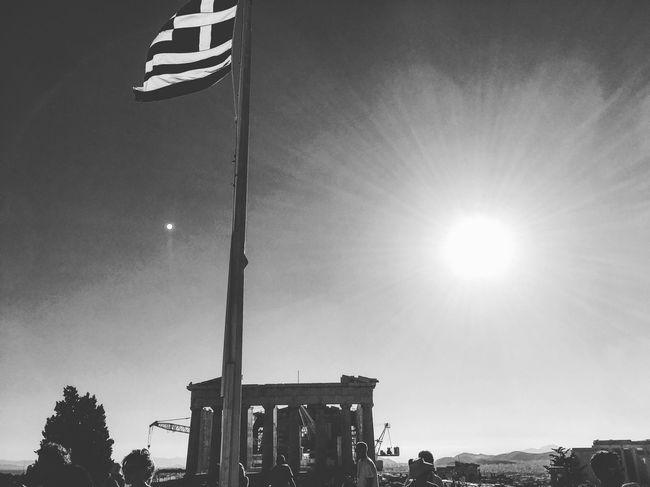 Blackandwhite Athens, Greece Parthenon Acropolis Greece Flag Sunset History Capture The Moment