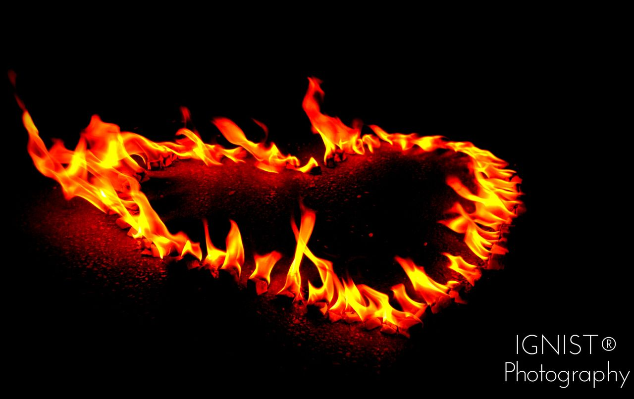 flame, heat - temperature, burning, glowing, orange color, night, no people, bonfire, close-up, black background, nature, outdoors