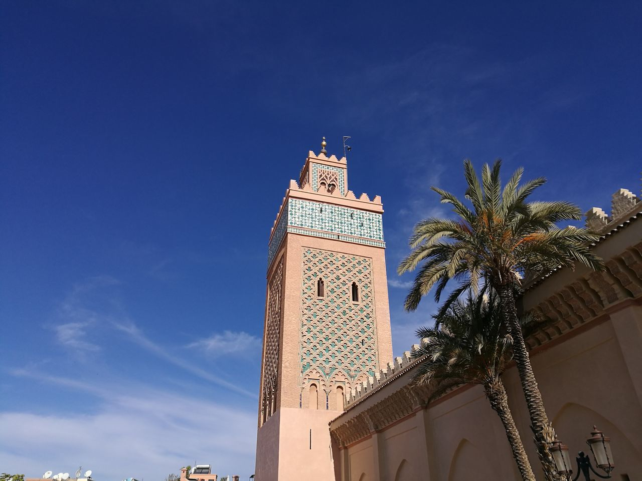 mosque moulay el yazid Architecture Blue Day Low Angle View Mosque Moulay El Yazid No People Oldcity Outdoors Palm Tree Sky Tower Tree