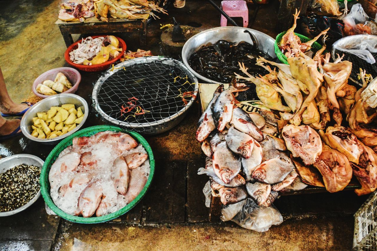 Wet Market Local Market Cambodia Kampot, Cambodia Food For Sale Retail  Food And Drink Market Choice Seafood Variation Meat High Angle View Market Stall Healthy Eating Large Group Of Objects Abundance Freshness Outdoors ASIA Day Lifestyle A Day In The Market Travel Photography Price Tag