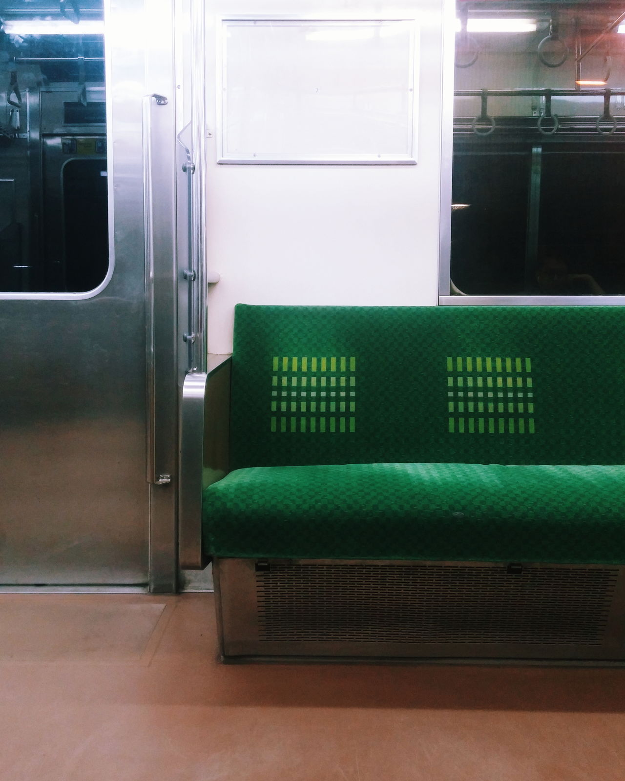 Green Color Indoors  Commuting On The Train Public Transportation Empty Seats