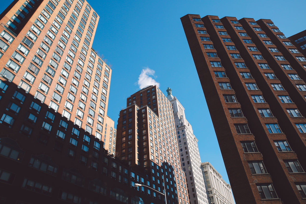 Architecture Blue Sky Building Exterior Built Structure City Day Low Angle View Manhattan Modern New York New York City No People NYC Outdoors Sky Skyscraper Sunny The City Light Winter
