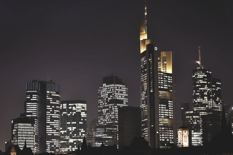 Commerzbank Tower Financial District  Frankfurt Frankfurt Am Main Architecture Banken Bankenviertel Building Exterior Built Structure City Cityscape Downtown District Frankfurt At Night Illuminated Low Angle View Modern Night No People Outdoors Sky Skyscraper Tall - High Tower Travel Destinations Urban Skyline